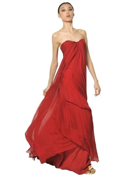 Alexander Mcqueen Red Multi Layer Silk Chiffon Dress