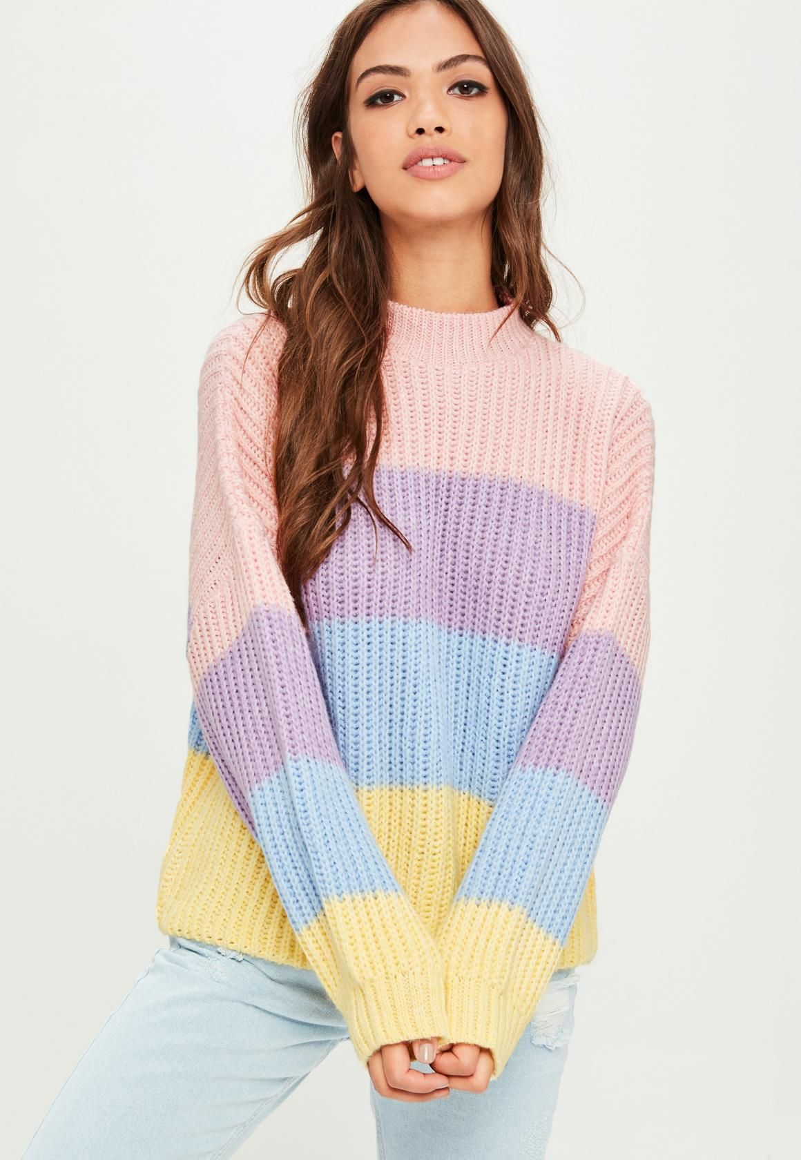 aee55358ada Missguided - Pink Multi Stripe Brushed Knitted Sweater | sweaters ...