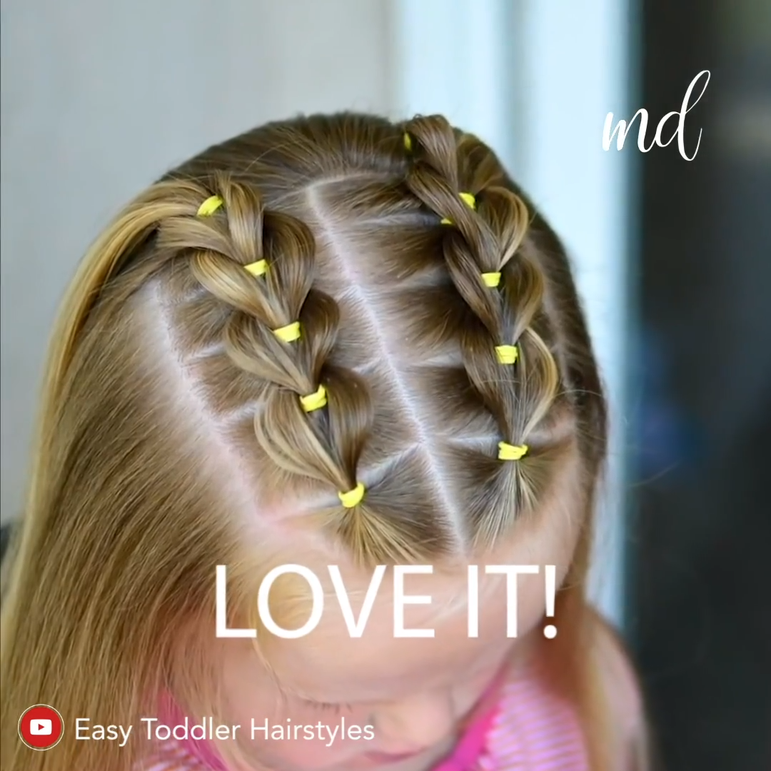 FRONT PULL THROUGH BRAIDS #girlhair This is a good hairstyle that your daughter can wear for a few days in a row!????