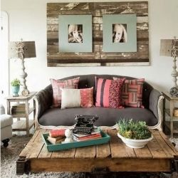 Do a large section of old wood panel rather than whole wall and hang photo or canvas on it.