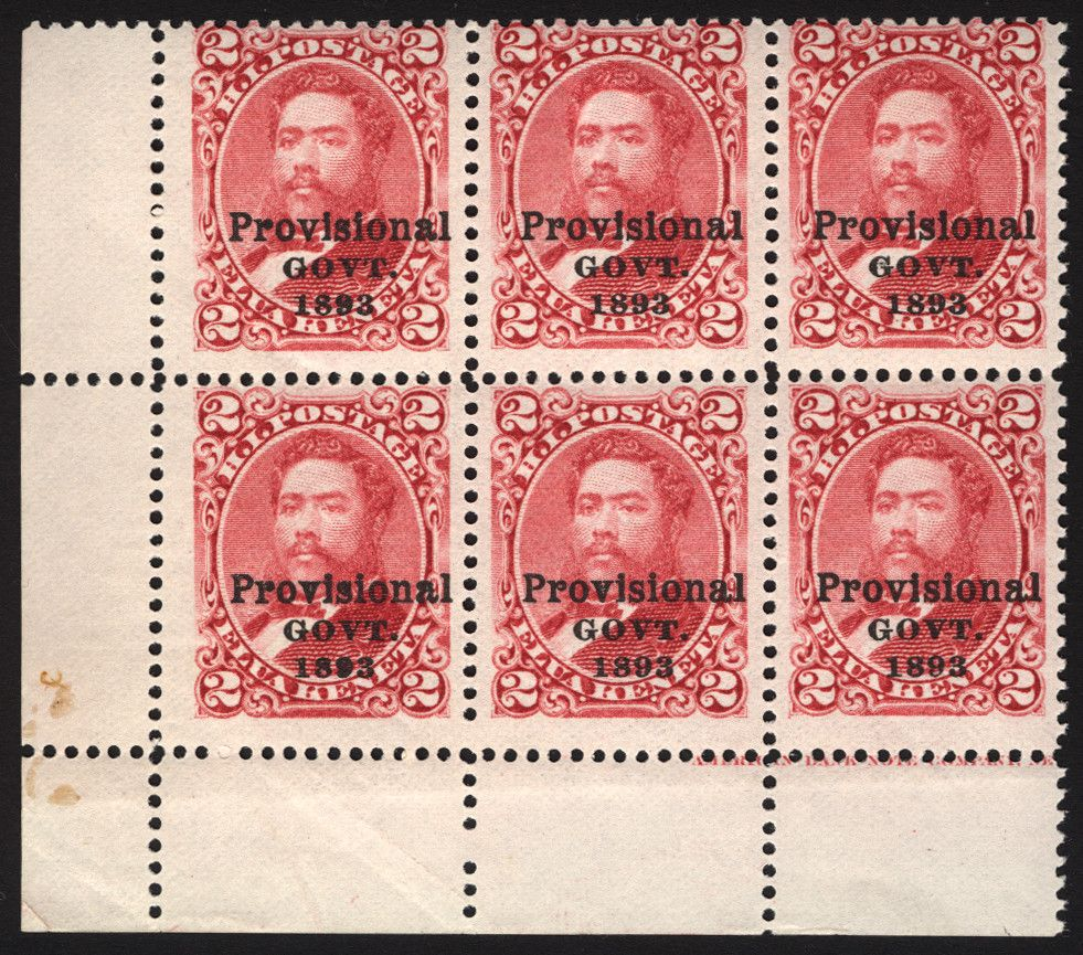 Hawaii #66 2c Rose1893 VF Mint Corner Imprint Block of 6
