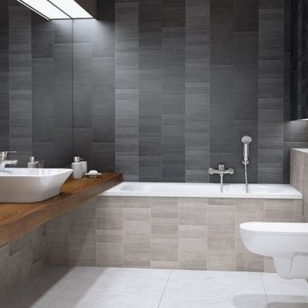 vox modern graphite large tile (4 pack)   bathroom wall