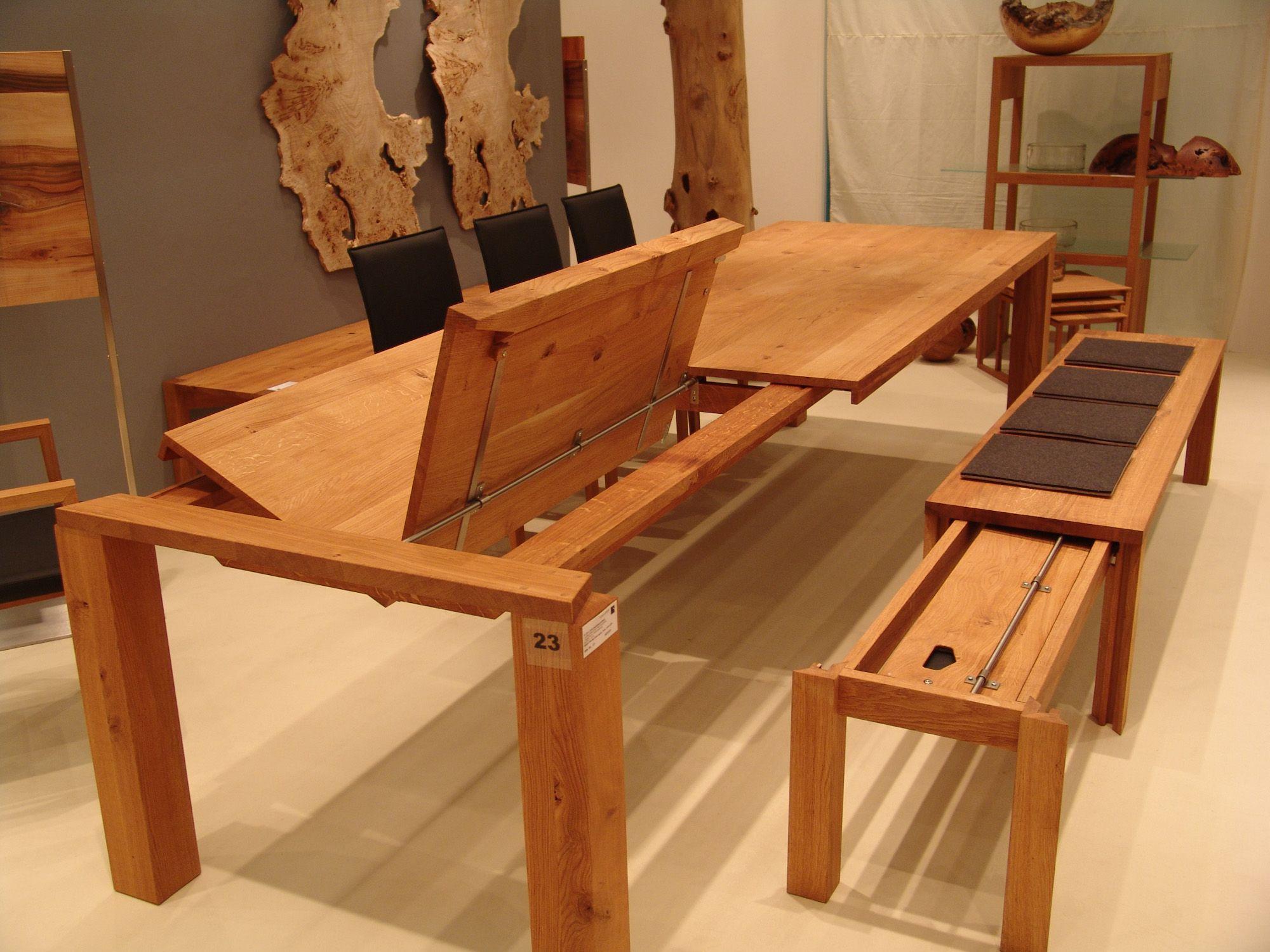 Esstisch Holz massiv mit Klappeinlage Bank