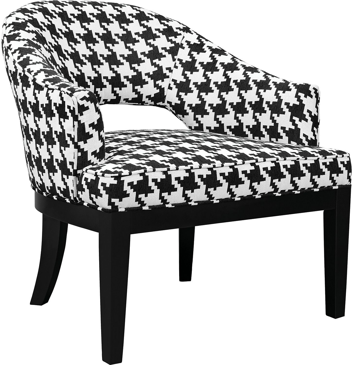Macy Houndstooth Linen Look Fabric Accent Chair Black And White