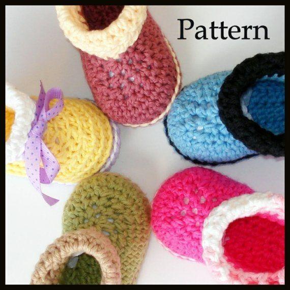 Crochet pattern baby booties Cuffed Boots by Genevive on Etsy ...