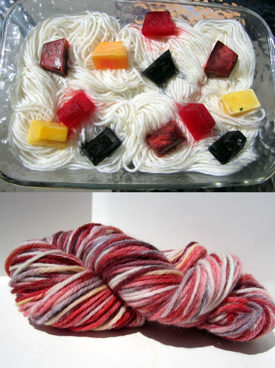 Dye yarn with frozen Kool Aid ice cubes. I've done it with kool aid but not frozen kool aid.