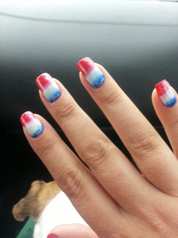 Red White N Blue Ombre Nails Fun For 4th Of July Blue Ombre Nails Ombre Nails Pink Ombre Nails