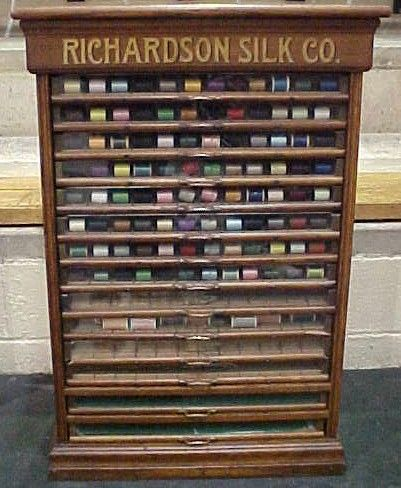 Richardson Spool Cabinet with 14 Glass Front Drawers, - Richardson Spool Cabinet With 14 Glass Front Drawers, BRASS LANTERN