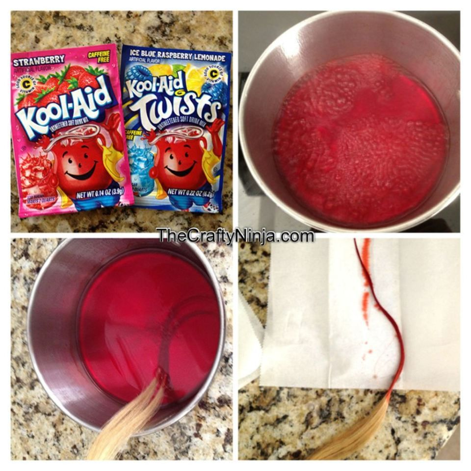 How To Dye Hair with Kool-Aid - great for last minute Halloween ...
