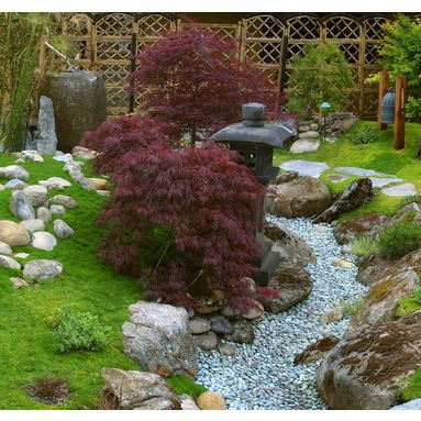 asian dry creek bed landscaping design pictures remodel decor and ideas dont like gravel maples and moss nice