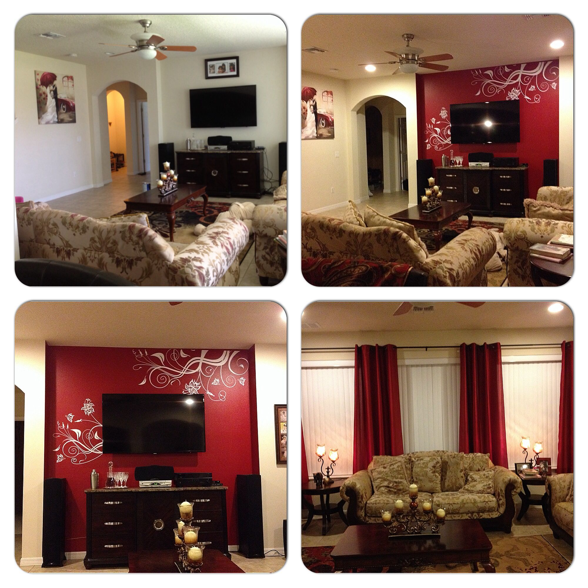 Before After Family Room Warm And Passionate Scheme Of Brown Gold Red Tones Accent Wall Paint Valspar Satin Cut Ruby Decal By Popdecors