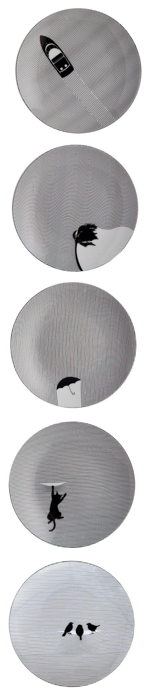 Fine Lines Porcelain Dinnerware Collection Par Cheeky Home Journal Du Design Vaisselle Dessin Graphisme