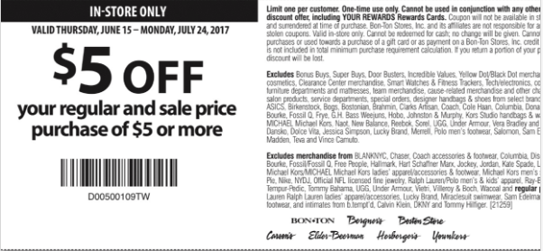 photo about Bon Ton Printable Coupon titled Obtain $5 Off your Every month Sale Priced orders around $5 at Bon
