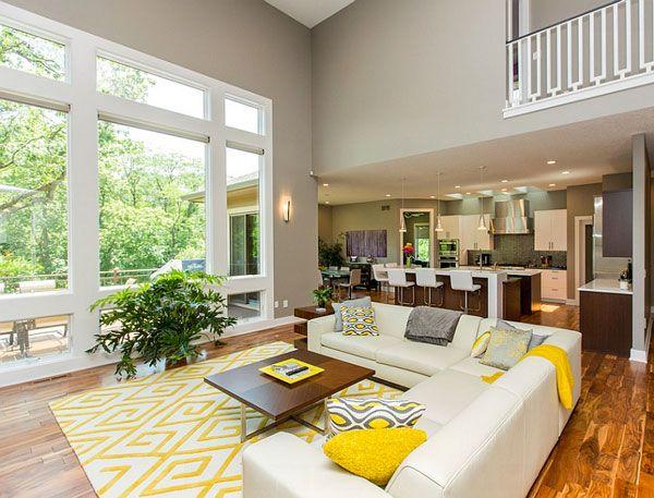 Giallo e grigio nel salone 25 idee di abbinamenti home for Salotti bianchi