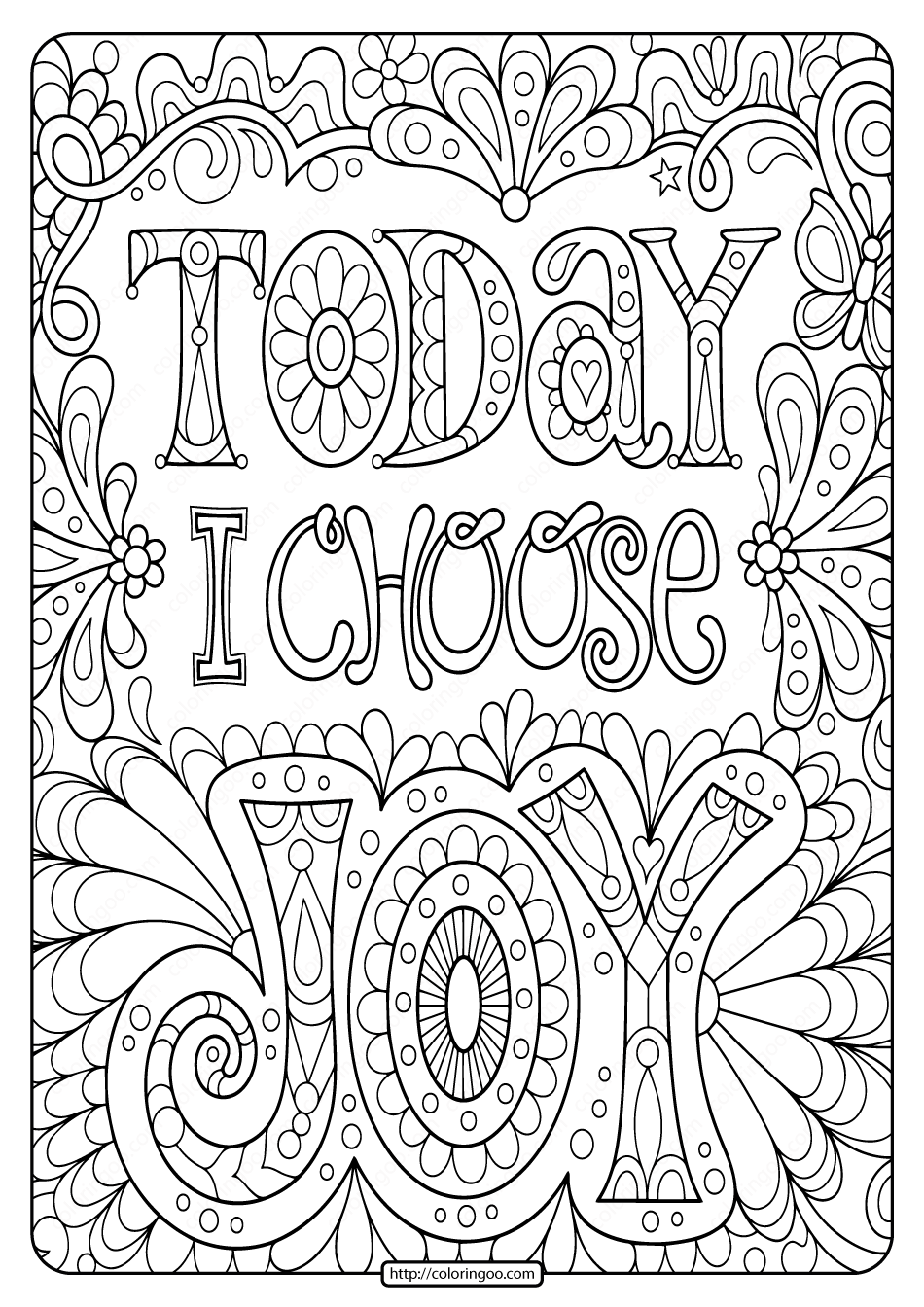 Today I Choose Joy Free Printable Coloring Page In 2020 Abstract Coloring Pages Mandala Coloring Pages Pattern Coloring Pages