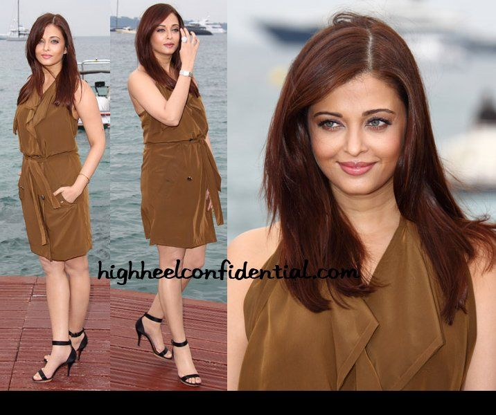 Aishwarya Rai at Cannes 2011 Photocall: Loving the brown palette from the hair colour to the Lanvin silk dress.
