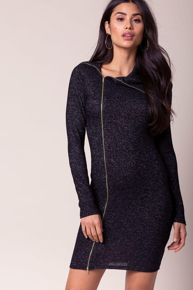 Donna zip front sweater dressdonna zip front sweater dress