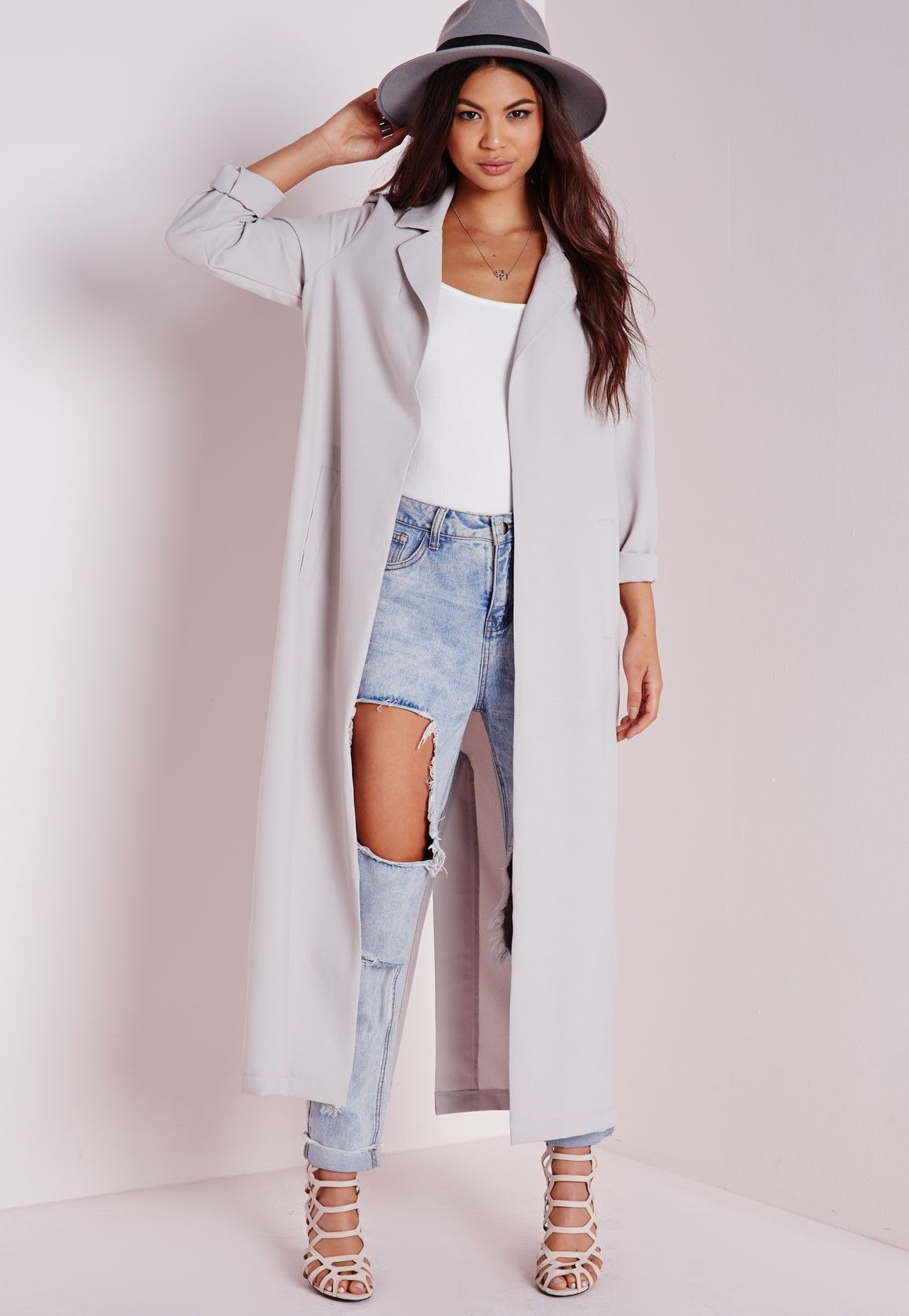 We're vibin all over this long line grey maxi duster coat this ...