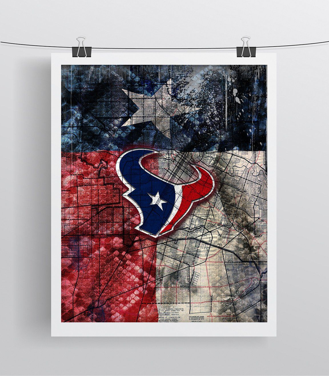 Houston texans sports poster houston texans artwork texans in front of houston map and