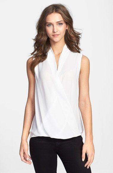 714f17e794033 Pleione Sleeveless Faux Wrap Blouse (Regular   Petite) available at   Nordstrom