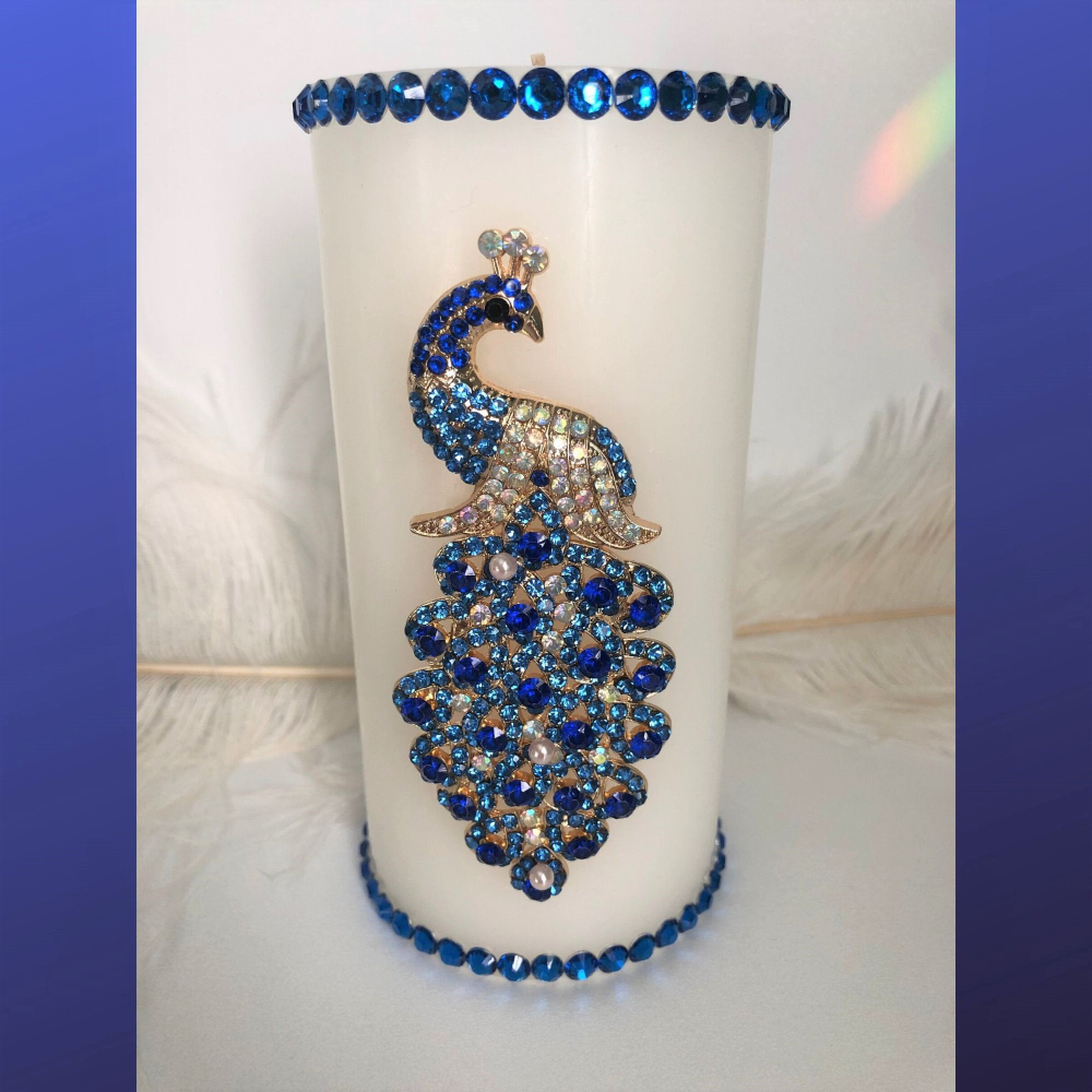 Peacock Candle Elegant Candles Blue Peacock Rhinestone Peacock Rainbow Candle Bird Lover Gifts Peacock Gifts Peacock Centerpieces