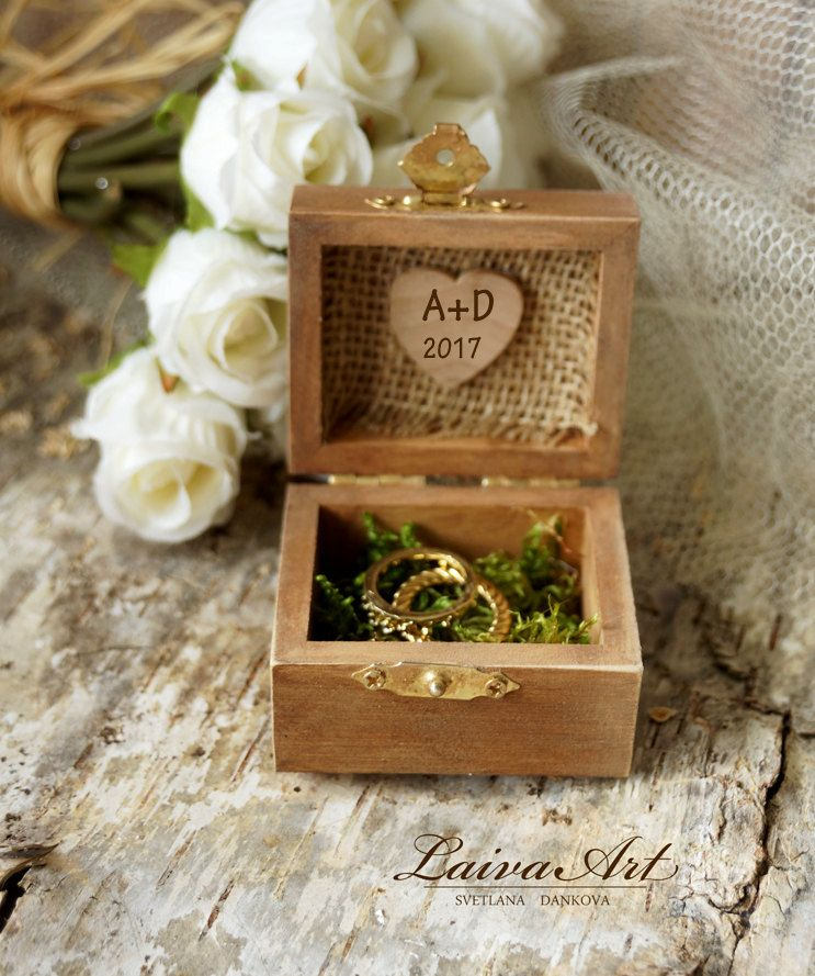 Personalized Wedding Rustic Ring Bearer Box Ring Pillow Box Rustic Vintage Wooden Ring Bearer Box - pinned by pin4etsy.com