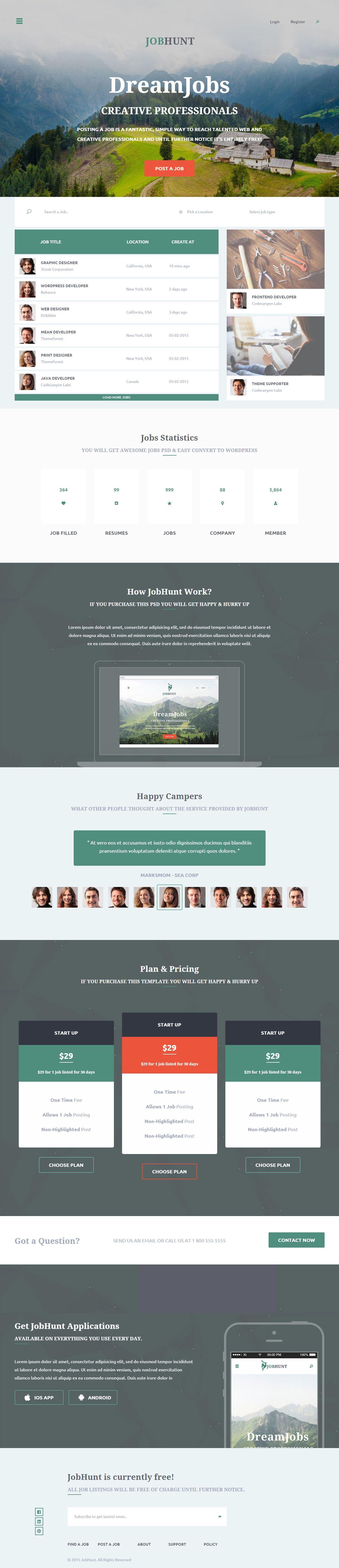 Parallax Website Template Jobhunt Is Premium Full Responsive Retina #html5 #jobboard