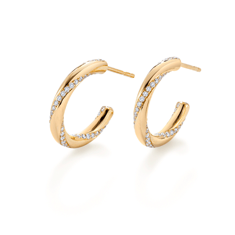 Mappin and Webb Fortune Duo Yellow Gold Hoop Earrings
