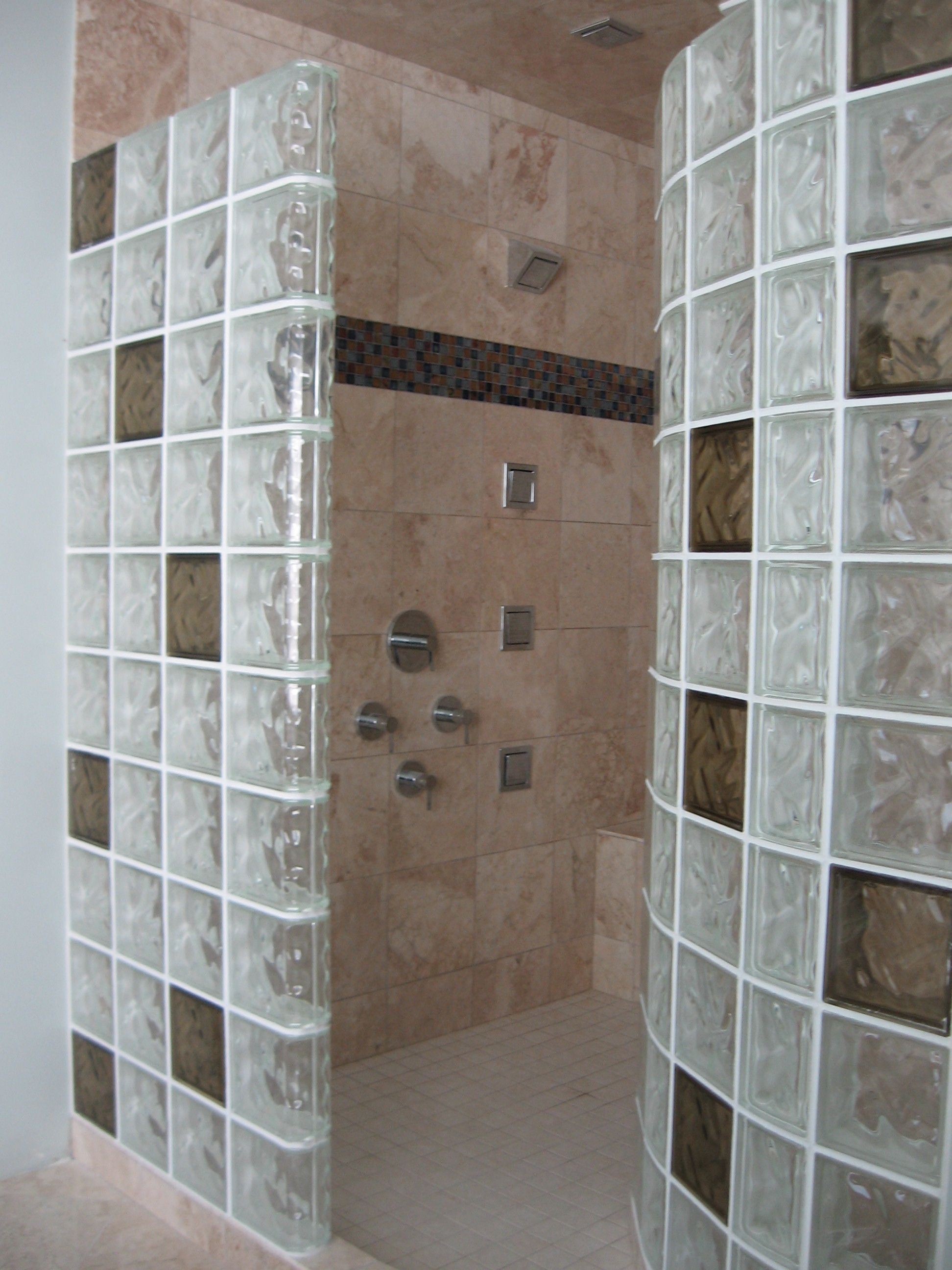 Another Custom Look Using Colored Glass Block Coordinated With