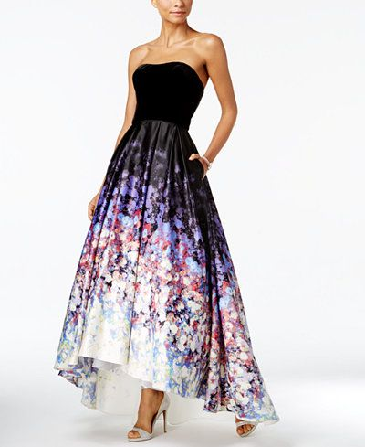 dc6bd94a420 POCKETS Betsy   Adam Strapless Velvet Printed High-Low Gown ...