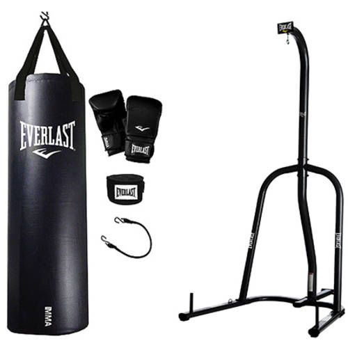Everlast Single Station Heavy Bag Stand With Mma Kit Value Bundle Fitness Equipment No