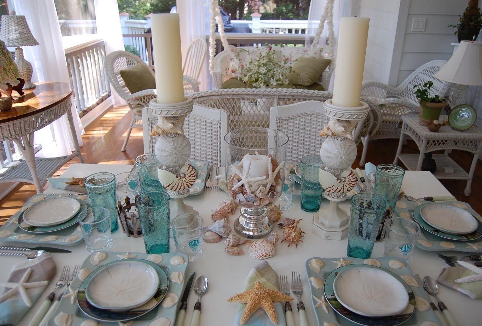 Beach Theme Dinnerware Sets | Beach Themed Table Setting Tablescape & A Beach Escape | Dinnerware Beach and Coastal