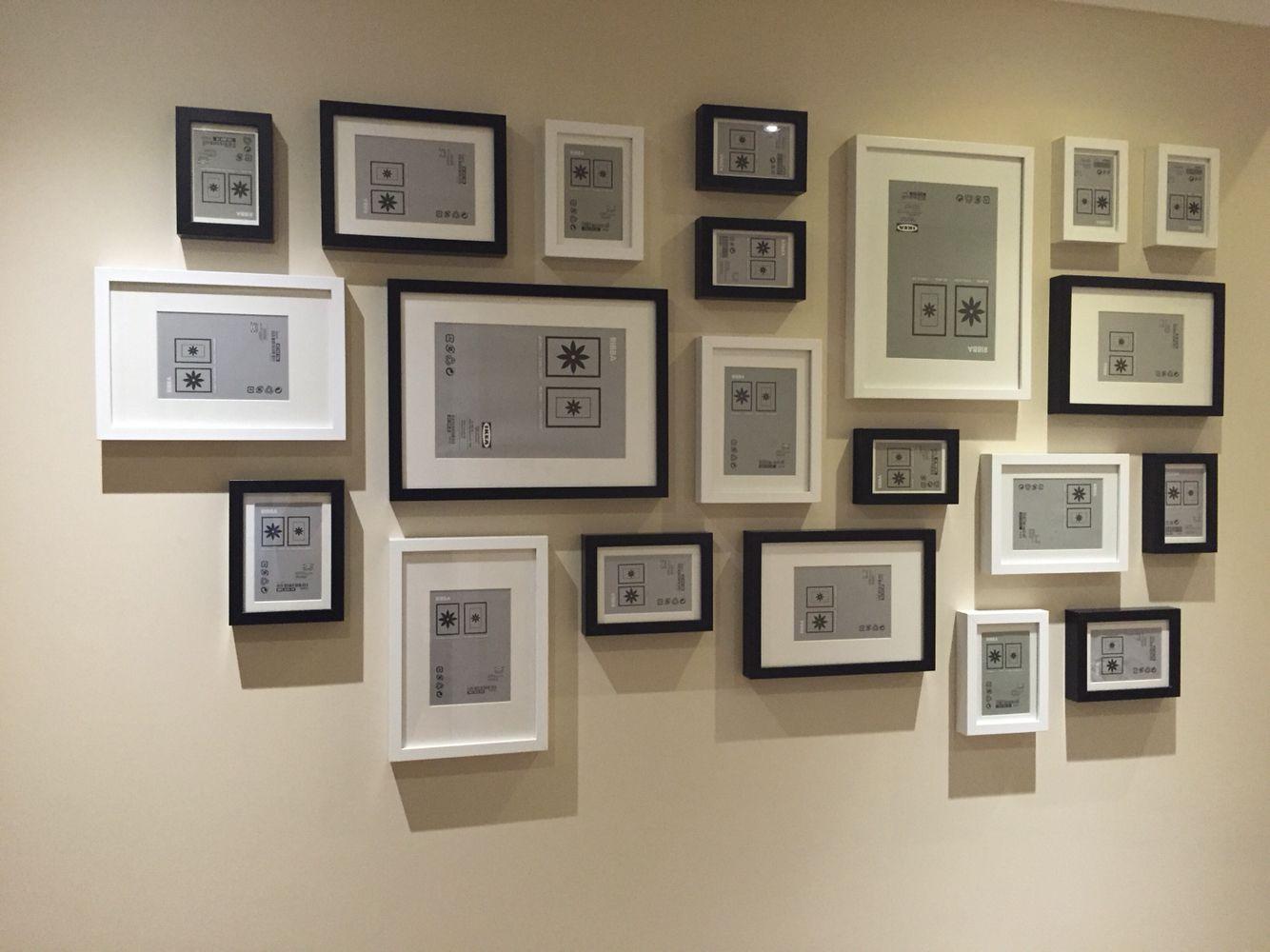 Ikea Ribba Frames Layout Black And White Diseno De Pared De Galeria Decoracion De Unas Decoracion Con Cuadros