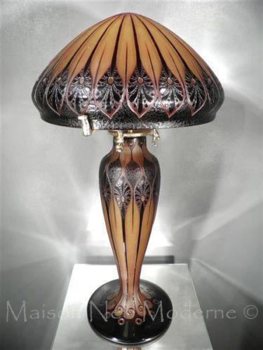 De Rare Nicolas Paul Pate 1925 Lampe En Verre Dargental Champignon sQdChrt