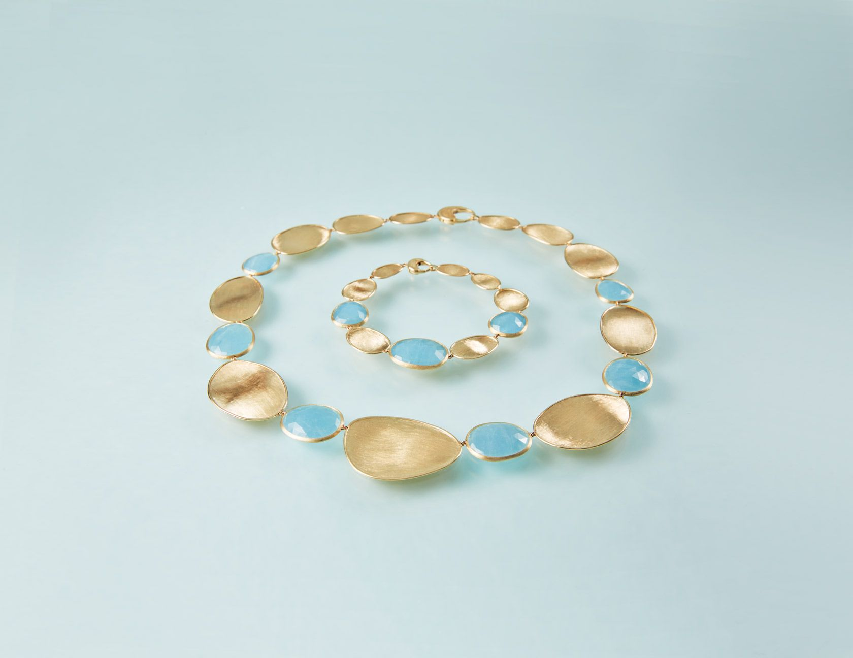 Lunaria aquamarine necklace and bracelet