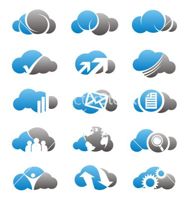 Cloud Computing Icons And Logos Set Vector Image On Vectorstock Cloud Icon Logo Set Clouds