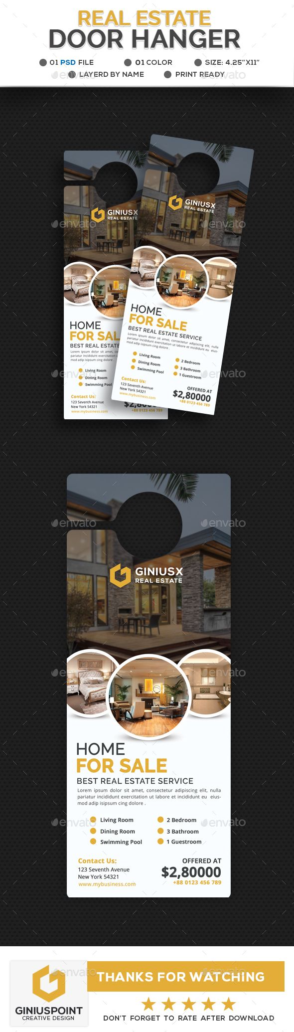 door hanger design real estate. #Real Estate Door Hanger - Miscellaneous Print Templates Design Real
