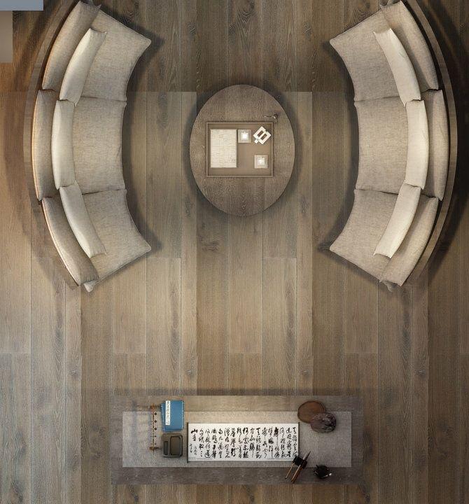 茶室设计方案 My Design Work Living Room Top View Sofa Furniture