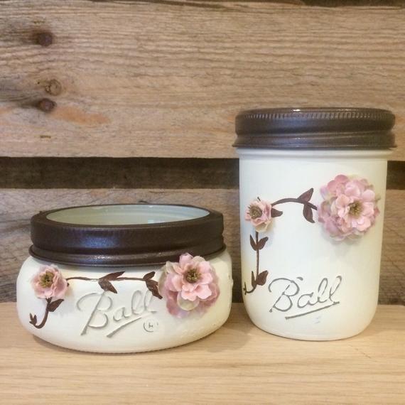 Shabby Chic Mason Jar Bathroom Set, Mason Jar Desk Set, Mason Jar