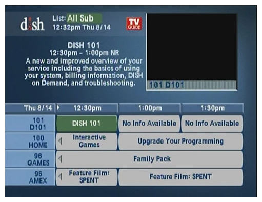 no guide information troubleshooting mydish dish