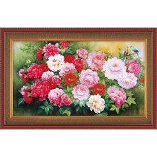 Набор для вышивания шелком 3785 Цветущие пионы