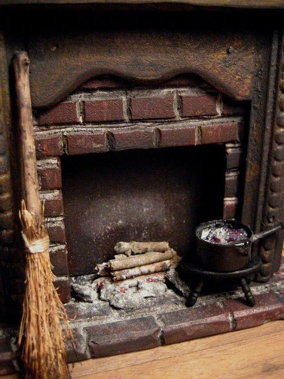 Witch's Creepy Fireplace for Haunted Dollhouse