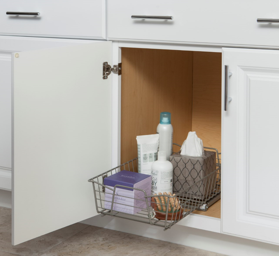 Store miscellaneous bathroom items in easy-to-access pull-out ...