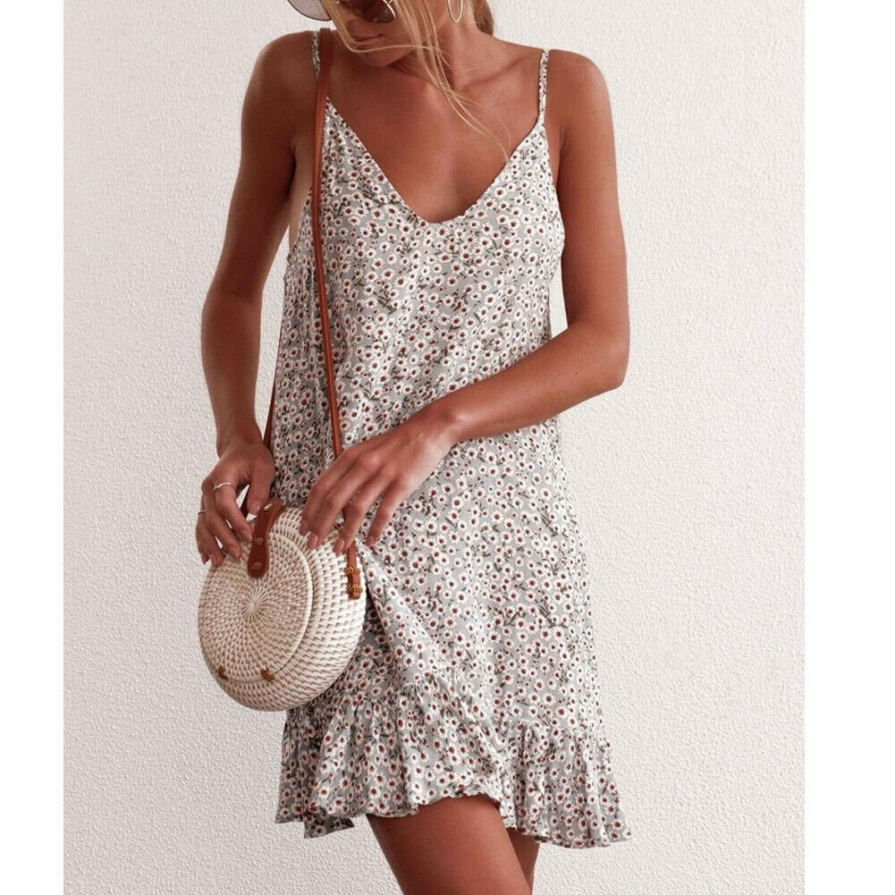 Women Sleeveless Strappy Boho Floral Short Mini Dress Summer Sundress Sheheonline Fashion Style Casual Dress [ 1001 x 1001 Pixel ]