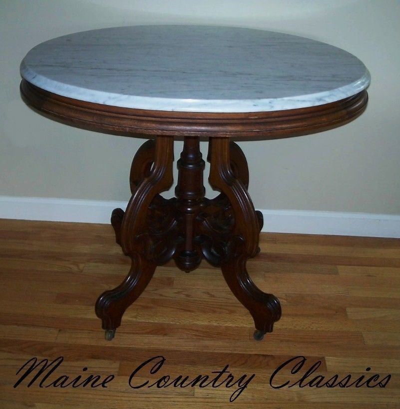 Sell My Antique Furniture: Antique VICTORIAN OVAL MARBLE TOP PARLOR TABLE Walnut