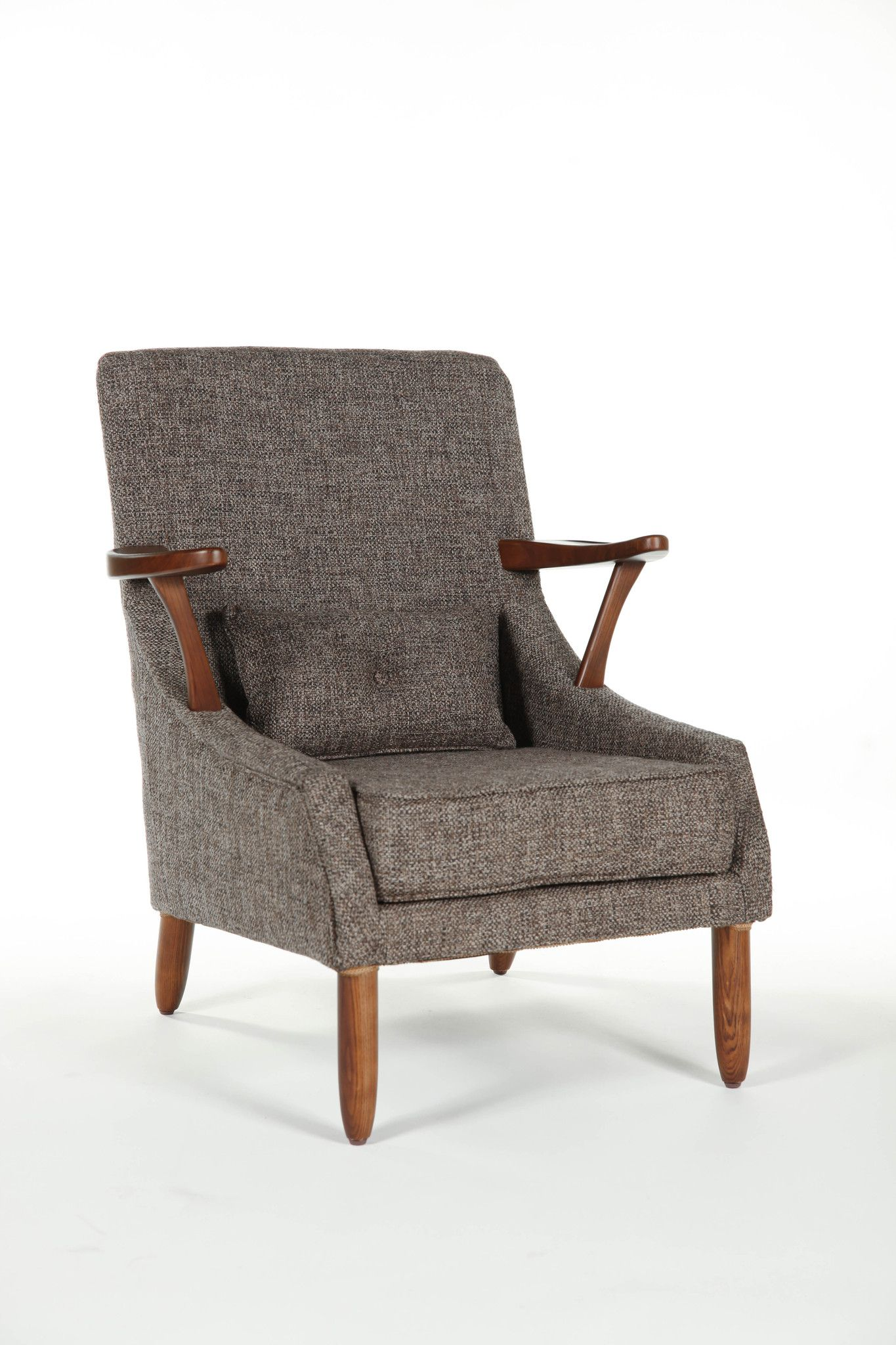 Mid Centrury Modern Fabric Brown Arm Chair