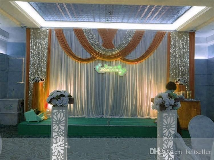 Wedding Backdrop Stage Curtains With Swags 20 Ft 10 Feet Wedding Top Table Decorations Gazebo Wedding Wedding Backdrop