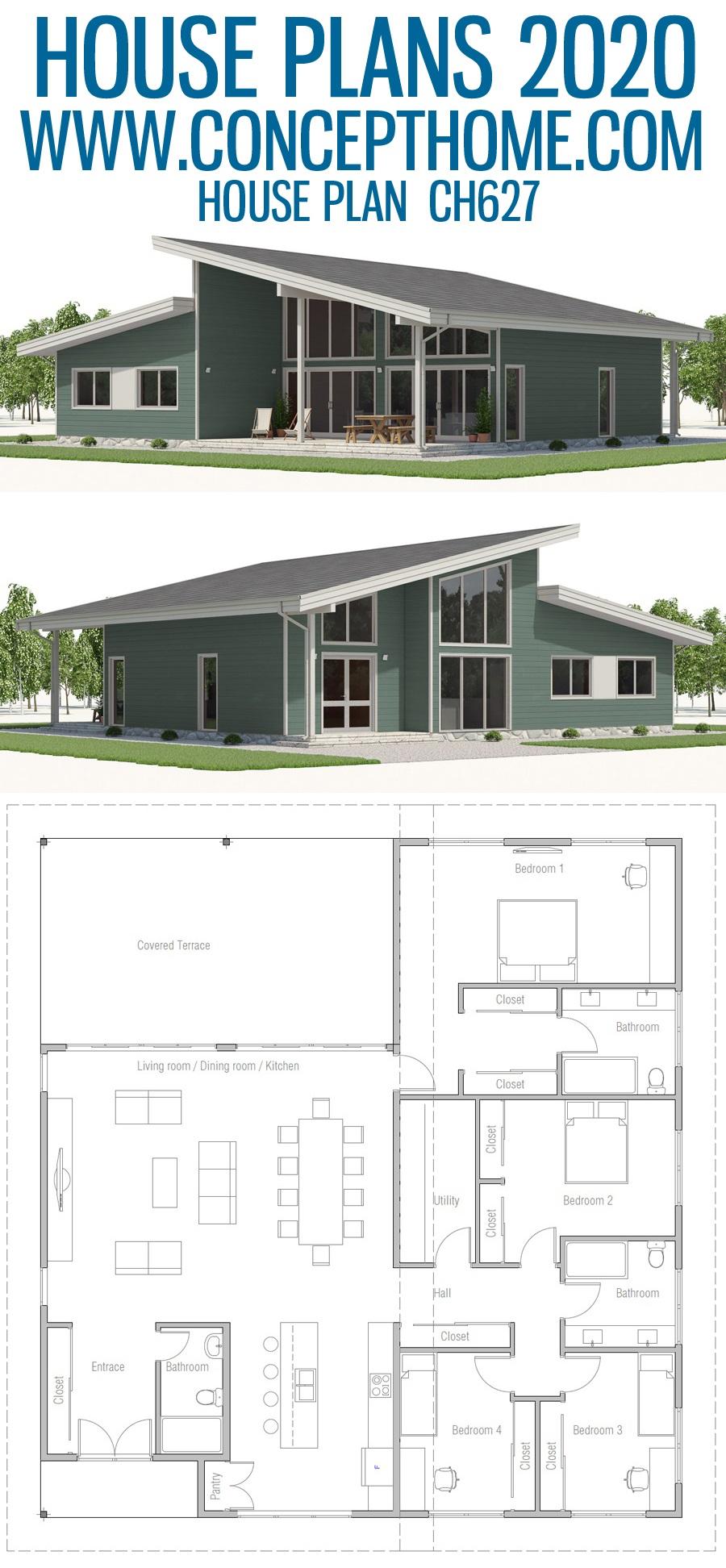 House Plan Ch627 Modern Farmhouse Plans Bungalow House Design New House Plans