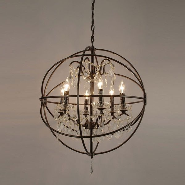 Foucault\'s Orb Crystal Iron 6-light Chandelier by Gallery ...
