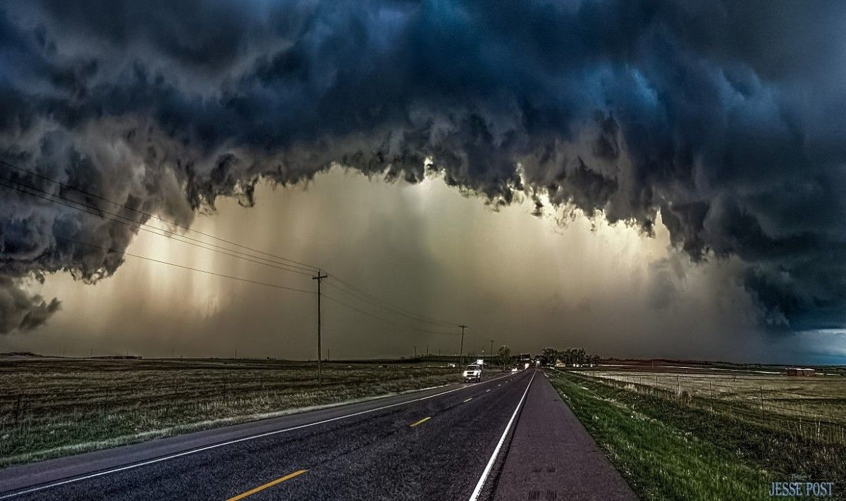 """Another """"Texas Rage""""...... Had to drive out of this storm, after being """"In the Cage"""" for almost 1/2 hr, and look back to snap a """"thank you for the run"""" image here"""